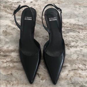 Stuart Weitzman black leather heels, size 8.5M